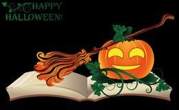 lyckliga halloween Gammal bok för häxa med pumpa Arkivbild