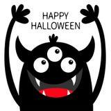 lyckliga halloween Gigantisk huvudsvartkontur Tre ?gon, tandhuggtand, horn, h?nder upp Roligt tecken f?r gullig kawaiitecknad fil royaltyfri illustrationer