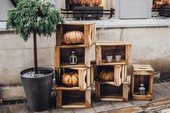 lyckliga halloween lantlig garnering med pumpor och lyktor in Fotografering för Bildbyråer