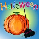 lyckliga halloween Mogen pumpa och kvast Fotografering för Bildbyråer