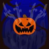 lyckliga halloween Pumpa med ett ont leende flyga spökar På sidorna är ruskiga träd På en mörk bakgrund vektor illustrationer