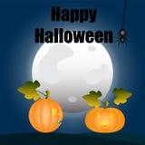 lyckliga halloween Pumpor i bakgrunden av månesamtalet vektor illustrationer