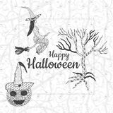 lyckliga halloween Svartvitt baner stock illustrationer