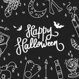 lyckliga halloween Trendkalligrafin Illustration med häxeri Royaltyfria Foton