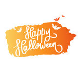 lyckliga halloween Trendkalligrafin Illustration med orange slagträn på borstefärgpulver Arkivfoto