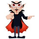 lyckliga halloween Vampyren visar dig vägen Dracula inviterar Gulligt tecknad filmvampyrtecken med den stora ?ppna munnen, tunga, stock illustrationer