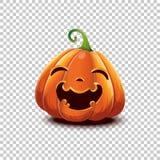lyckliga halloween Vektorallhelgonaaftonpumpa i tecknad filmstil Le lycklig framsidaallhelgonaaftonpumpa som isoleras på genomski royaltyfri fotografi