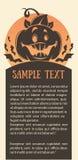 Lyckliga halloween, vektorhälsningkort eller inbjudan med stället fo vektor illustrationer