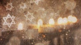 lyckliga hanukkah Menorasnö arkivbilder