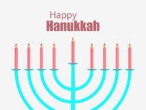 lyckliga hanukkah stearinljus isolerade white Menoror med nio stearinljus vektor vektor illustrationer