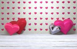 Lyckliga hjärtor för dag fyra för valentin` s Arkivfoton