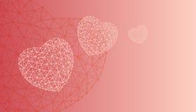 Lyckliga hjärtor för witn för kort eller för baner för valentindaghälsning som består av polygoner och prickar Fotografering för Bildbyråer