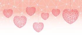 Lyckliga hjärtor för witn för kort eller för baner för valentindaghälsning som består av polygoner och prickar Arkivfoto