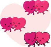 Lyckliga hjärtor kopplar ihop vektor illustrationer