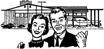 Lyckliga husägare Arkivbild
