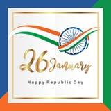 Lyckliga indiska heder för republikdag26 Januari beröm datumet som konstitutionen av Indien bildade på affischen eller banret royaltyfri illustrationer
