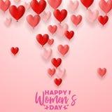 Lyckliga internationella kvinnors dag med hjärtor sväller bakgrund stock illustrationer