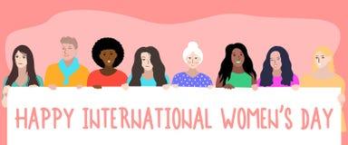 Lyckliga internationella kvinnors dag 8th mars stock illustrationer