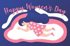 Lyckliga internationella kvinnors dag 8th mars royaltyfri illustrationer