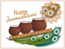 Lyckliga Janmashtami Indisk festival Dahi handi på Janmashtami som firar födelse av Krishna också vektor för coreldrawillustratio Arkivbilder