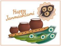 Lyckliga Janmashtami Indisk festival Dahi handi på Janmashtami som firar födelse av Krishna också vektor för coreldrawillustratio Fotografering för Bildbyråer