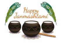 Lyckliga Janmashtami Indisk festival Dahi handi på Janmashtami som firar födelse av Krishna också vektor för coreldrawillustratio Royaltyfri Bild