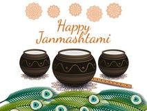 Lyckliga Janmashtami Indisk festival Dahi handi på Janmashtami som firar födelse av Krishna också vektor för coreldrawillustratio Arkivfoton
