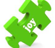Lyckliga Joy Puzzle Shows Cheerful Joyful och tycker om royaltyfri illustrationer