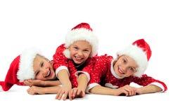 Lyckliga julflickor Royaltyfri Bild