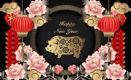 Lyckliga kinesiska för lättnadspion för nytt år retro guld- firecrackers för moln för svin för lykta för blomma och gallerrundara vektor illustrationer