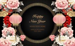 Lyckliga kinesiska för lättnadspion för nytt år retro guld- firecrackers för moln för svin för lykta för blomma och gallerrundara stock illustrationer