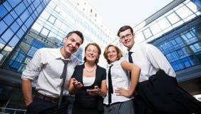 lyckliga kontorsarbetare Fotografering för Bildbyråer