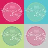 Lyckliga kort för dag för kvinna` som s göras från original- typografiillustration arkivbild