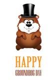 Lyckliga kort för hälsning för Groundhog dag vektor illustrationer