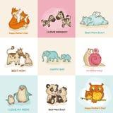 Lyckliga kort för moderdag vektor illustrationer