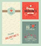 Lyckliga kort för valentindaghälsning vektor illustrationer