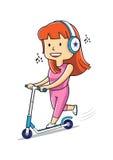 Lyckliga kvinnaritter på en sparkcykel Royaltyfri Illustrationer