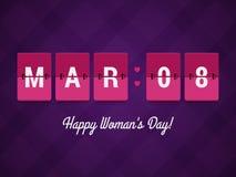 Lyckliga kvinnas dag stock illustrationer