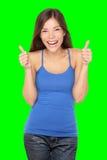 Lyckliga kvinnatum upp på white Arkivfoton