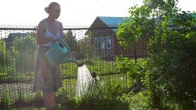 Lyckliga kvinnliga trädgårdsmästarevattenväxter och blommor med bevattna kan i solig trädgård lager videofilmer