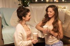 Lyckliga kvinnliga vänner som hemma dricker kakao Arkivbild