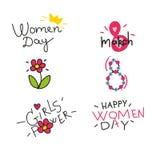 Lyckliga kvinnor; beståndsdelar för s-dagdesign vektor stock illustrationer