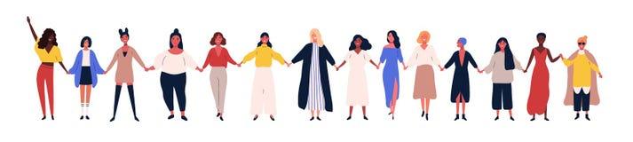 Lyckliga kvinnor eller flickor som tillsammans står och rymmer händer Grupp av kvinnliga vänner, union av feminister, systerskap  stock illustrationer