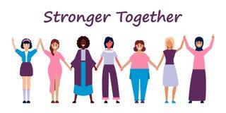 Lyckliga kvinnor eller flickor som tillsammans står och rymmer händer Grupp av kvinnliga vänner, union av feminister, systerskap  royaltyfri illustrationer