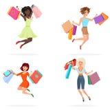 Lyckliga kvinnor hoppar med shoppingpåsar Unga flickor som hoppar hållande packar med köp den främmande tecknad filmkatten flyr i stock illustrationer