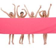 Lyckliga kvinnor i rosa färger - bröstcancer Awereness Fotografering för Bildbyråer