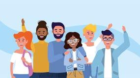 Lyckliga kvinnor och manvänner med tillfällig kläder stock illustrationer