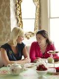Lyckliga kvinnor på att äta middag tabellen Arkivbild