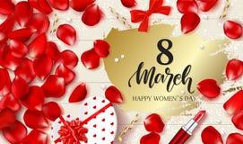 8 lyckliga kvinnors för mars dag - baner Härlig bakgrund med gåvaasken i hjärtaform, rosa kronblad, läppstift, pilbågar och sling royaltyfri illustrationer