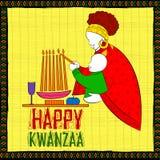 Lyckliga Kwanzaa hälsningar för beröm av skörden för afrikansk amerikanferiefestival Royaltyfri Bild